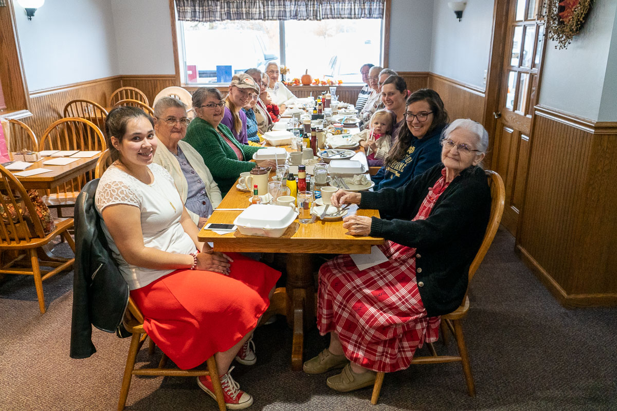 A group of ladies gathers for a birthday lunch at Tiffany's Restaurant in Topeka, Indiana.