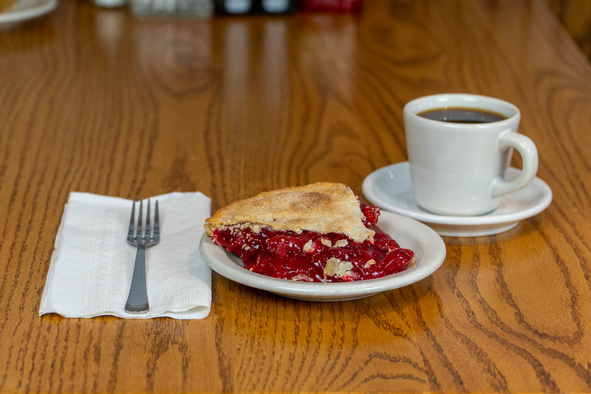 Cherry pie and a cup of coffee at Tiffany's Restaurant in Topeka, Indiana.